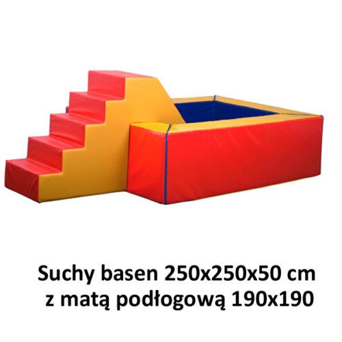 Suchy basen – wymiary: 250x250x50 cm z matą podłogową 190x190