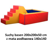 Suchy basen – wymiary: 200x200x50 cm z matą podłogową 140x140