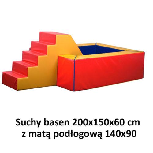 Suchy basen – wymiary: 200x150x60 cm z matą podłogową 140x90