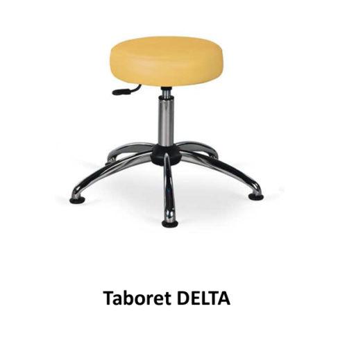 Taboret DELTA (na chromowanych nóżkach – bez kółek)