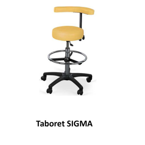 Taboret SIGMA (na kółkach + podnóżek + oparcie)