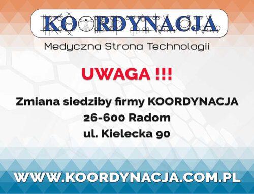 Zmiana adresu siedziby firmy KOORDYNACJA – Medyczna Strona Technologii